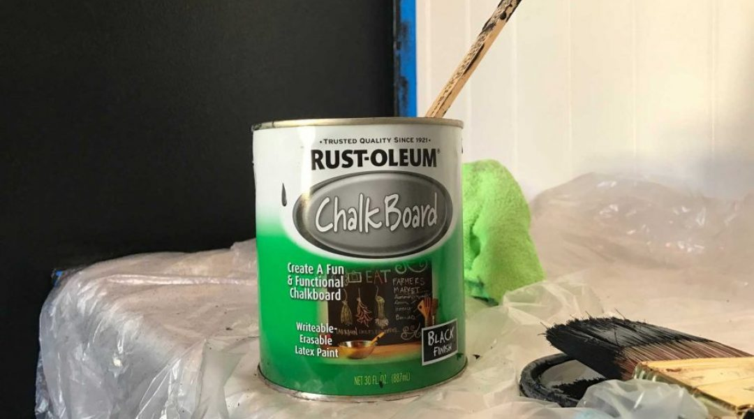Chalkboard paint by Rust-oleum. Stir slowly, do not shake as the pigments may break down.