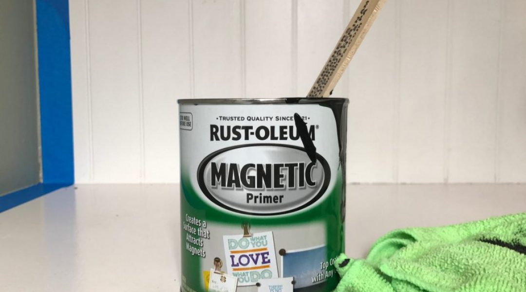 Magnetic paint by Rustoleum. Stir well and often - even between applications. It has metal flecks in it that settle to the bottom of the can.