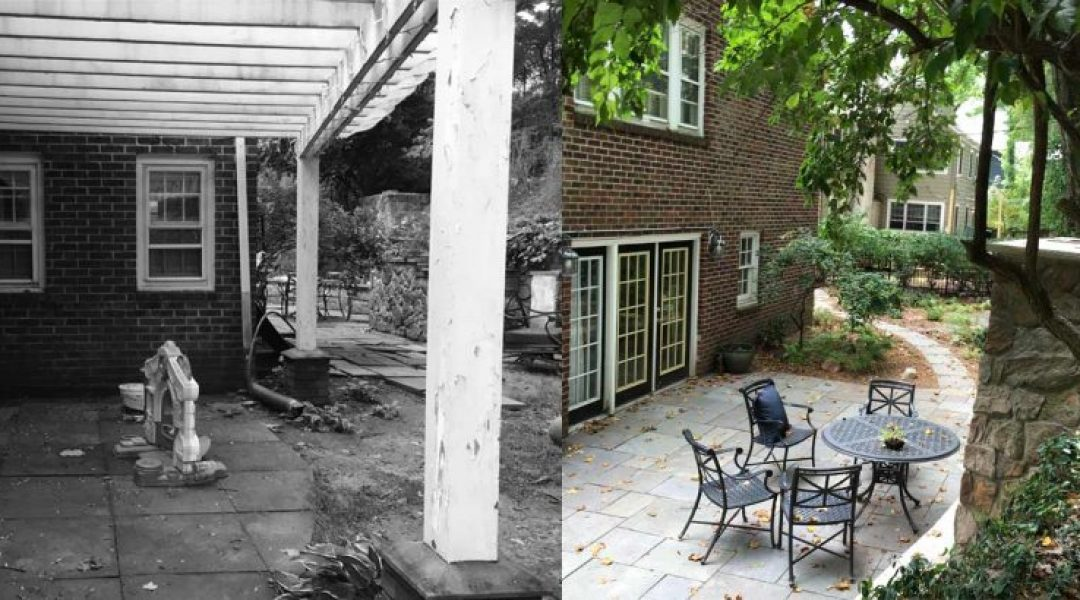 BEFORE - the patio and bar were broken, the pergola's wooden frame rotted and invasive weeds were overtaking the area. | AFTER - we installed a new stone patio, pergola and removed the weeds