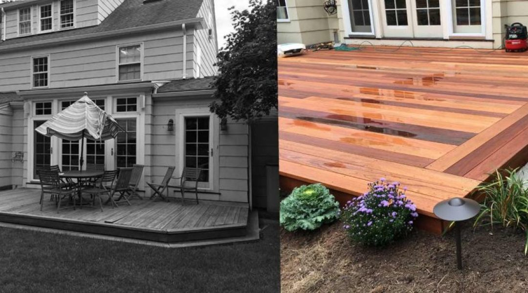 BEFORE - the unsafe deck had loose boards | AFTER - a new, larger deck with lighting was installed