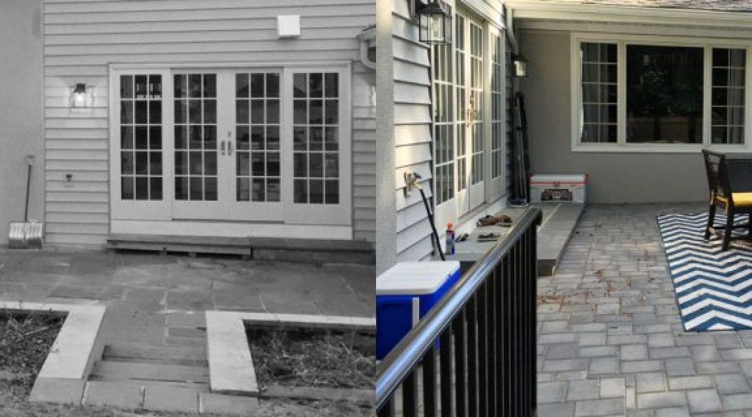 BEFORE - the broken patio and unsafe steps to kitchen and basement were unstable | AFTER - a new, larger patio with steps and railing provide much needed safety and elegance