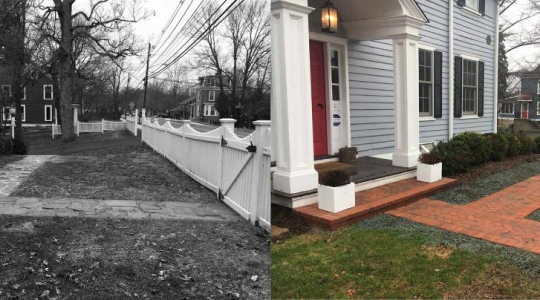 BEFORE - The path and steps on this Civil War era home were old and difficult to navigate with a stroller | AFTER - we installed historically accurate path and steps