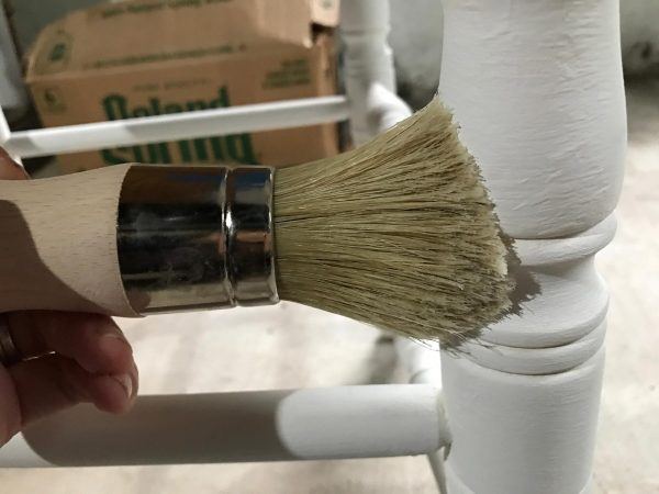 When applying the wax, use the Annie Sloan wax brush. Since the wax needs to get into every nook and cranny, the shape of the brush provides a terrific vehicle.