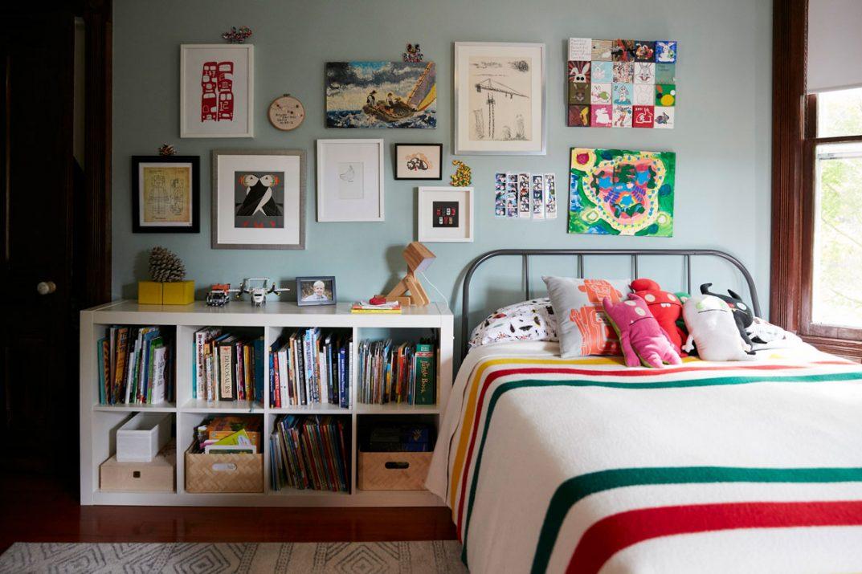 Jess Davis, owner of Nest Studio, Children's art work in bedroom interior design