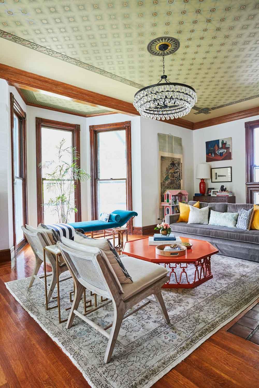 Jess Davis, owner of Nest Studio, living room interior design in her South Orange NJ Victorian