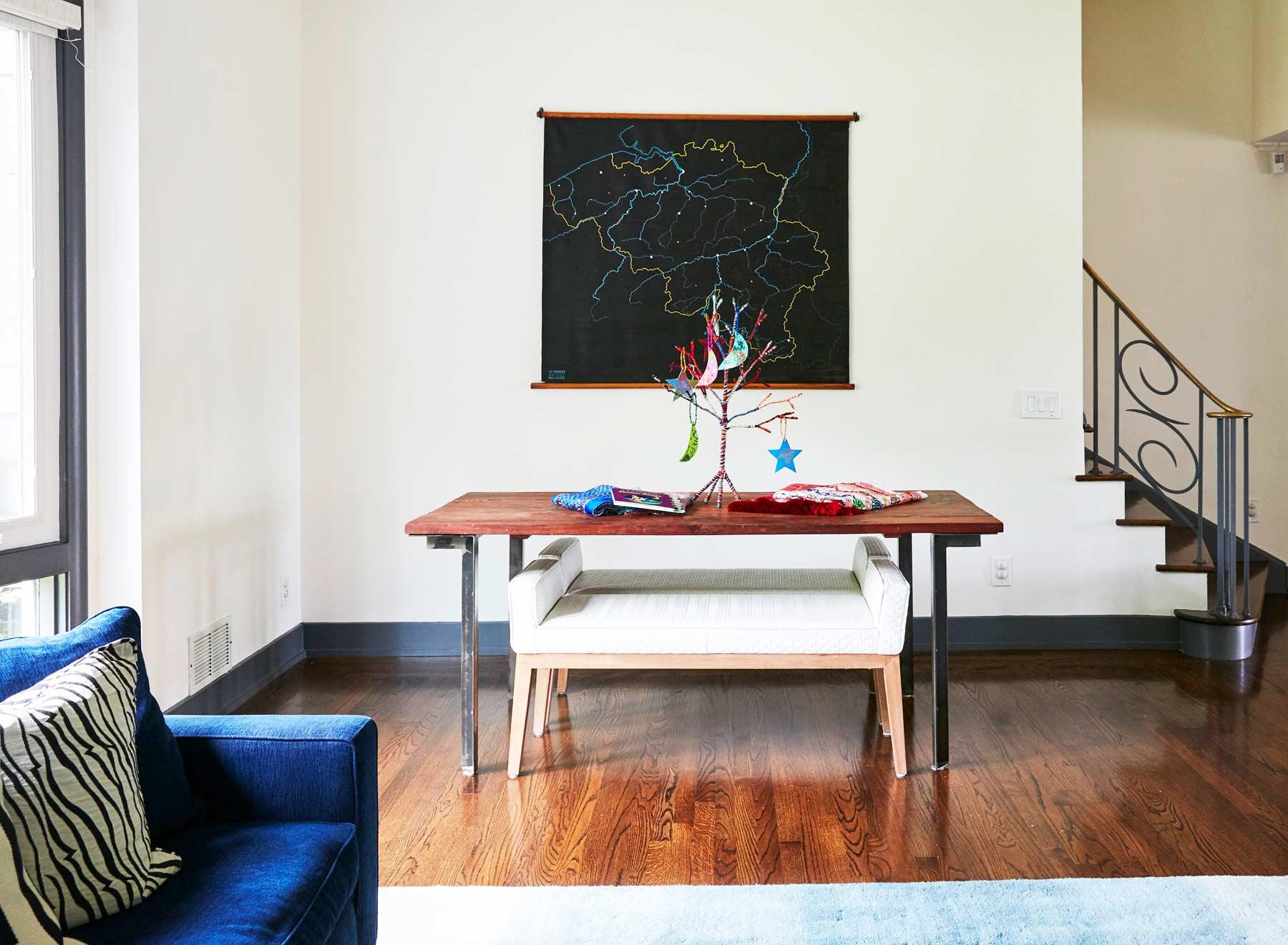 Mid century modern family room designed by Nureed Saeed. South Orange NJ