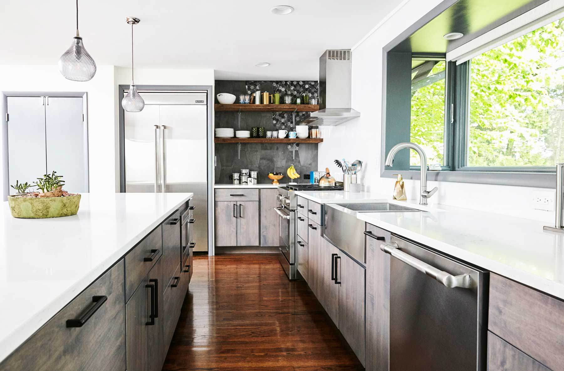 Renovated kitchen, kitchen remodel in Nureed Saeed's mid century modern home in South Orange, NJ