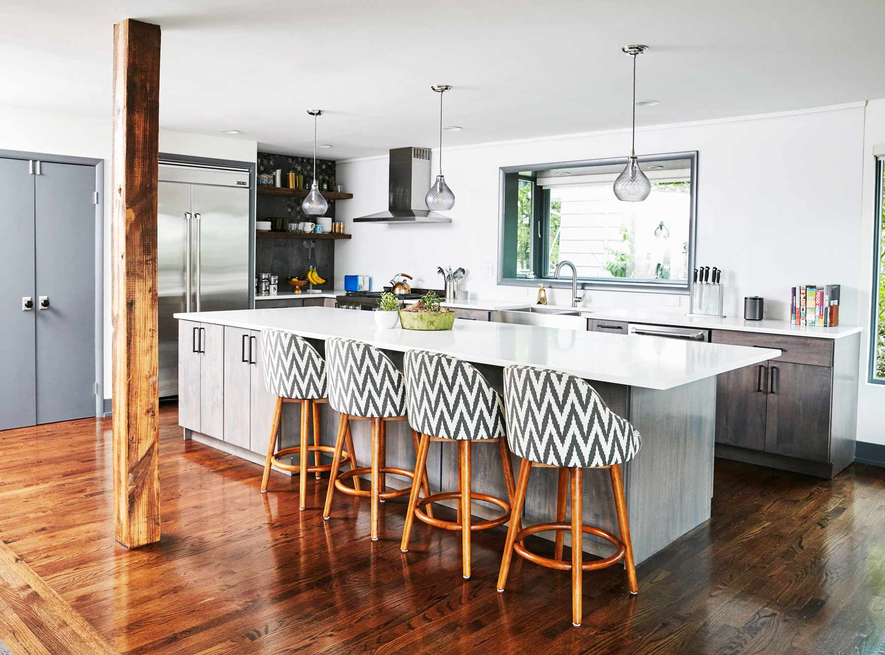 Nureed Saeed's renovated remodeled Kitchen Island in her South Orange NJ mid century modern home