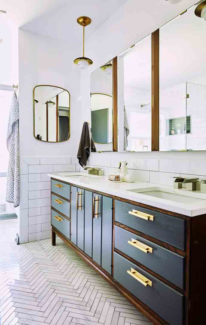 Master bath in a mid century modern home in South Orange, NJ. Designed by Nureed Saeed of Nu Interiors
