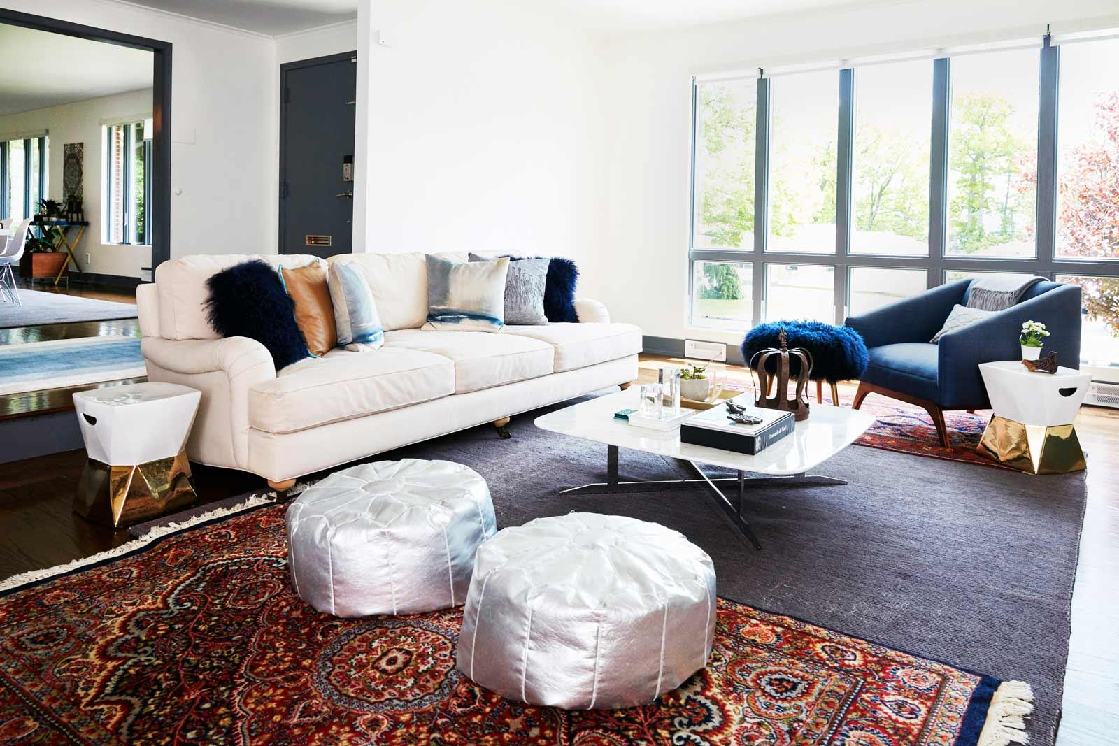 Sunken living room in Nureed Saeed's mid-century modern home in South Orange, NJ