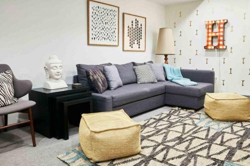 A comfortable basement family room.